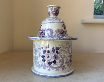 c1840s Antique Victorian Claremont Stone China Mulberry or Purple Transferware Pottery Tobacco Jar.