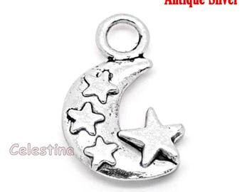 10 Antique Silver Crescent Moon & Stars Charms LF NF CF - Half Moon Charms - Moon Beads - 12mmm x 20mm Double Sided  TS95