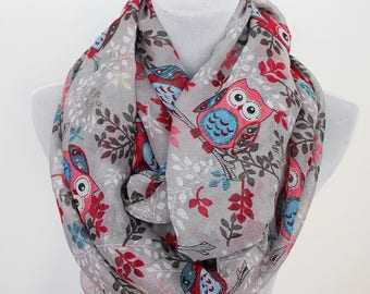 gray owl scarf, owl infinity scarf, scarf, infinity scarf, fall scarf, loop scarf, winter scarf, Christmas gift, for her, autumn scarf