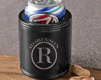 Personalized beer cozy metal monogrammed engraved custom coolers can huggers sleeves drink coolie cups holders black metal monogram