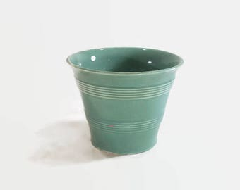 Sea Foam Green Ringed Flower Pot Vintage Ceramic Decor