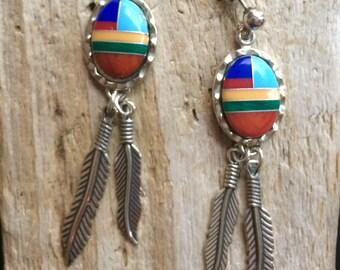 Multi-gemstone Native American Handmade Navajo earrings , Southwestern Design  Signed, Posts, Native American Hand crafted .