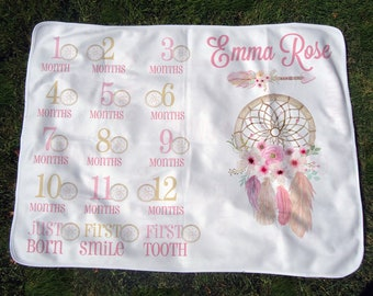 Personalized Monthly Boho Baby Blanket w/ Dreamcatchers - Girl Growth Chart Blanket - Month Blanket with Milestones - Baby Photo Prop