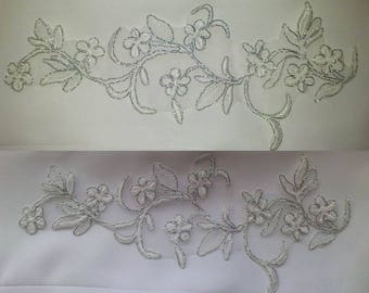 1 apply beautiful organza lace 24 cm X 11 cm silver
