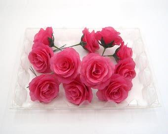 14 Pcs Silk Flower Heads,Pink Silk Rose Heads,Artificial Flower Rose with Short Stem,DIY Wedding Table decoration Floral Centerpieces Wreath