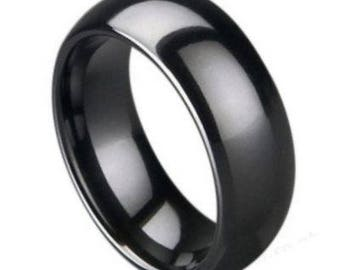 Black Ceramic Ring Classic Domed High Polished  – 8mm