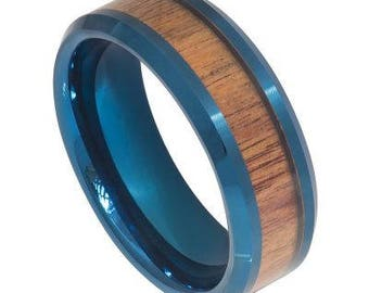 Blue IP Plated Inner Ring with Hawaiian Koa Wood Inlay Beveled Edge – 8mm