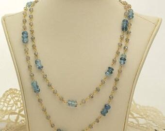 Variegated Blue Dyed Quartz Necklace 46.5ct (B97)