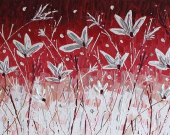 """Original Modern Mosaic Contemporary White Flowers Palette Knife Painting by Jeanette James~Monk 40"""" x 20"""" - 100x50cm ready to hang canvas"""