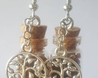 Glass vial tree of life brown seed bead earrings handmade