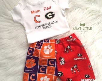 Custom House Divided Bodysuit ( Clemson Tigers - UGA) I Cheer For Both Teams and Pants or Shorts 2pc Set
