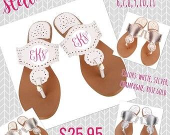 Stella Sandals, Womens Monogrammed Sandals, Womens Flip Flops, Beach Sandals, Personalized Flip Flops