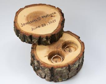 Ring box rustic, ring holder, ring bearer pillow, rustic wedding decoration, wood decor for woodland wedding, ring pillow alternative