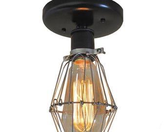 FLASH SALE Industrial Ceiling Light - Sconce Lighting, Wire Cage Lighting, Wall Mount Lighting, Edison Bulb Lighting