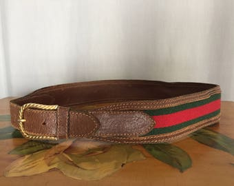 Gucci Belt Vintage Brown Leather Made in Italy Green Red Striped Fabric