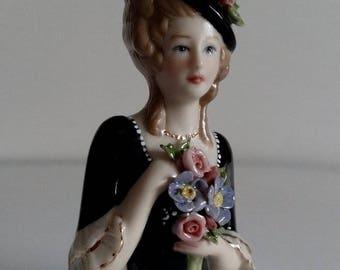 Porcelain Half Doll - Pincushion Half Doll - Tassel doll - Collectible Doll - Porcelain Figurine - Miniature doll
