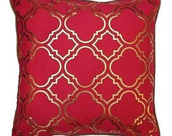 43 x 43 cm Metallic Gold Foil Moroccan Quatrefoil Tiles Vintage Look Cushion ...