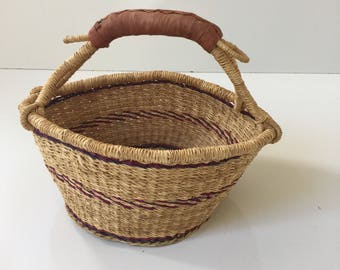 Vintage African Tribal Market Basket Small