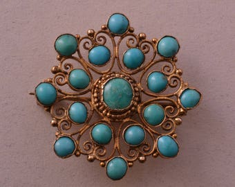 15ct Yellow Gold Victorian Brooch With Turquoise (632bb)