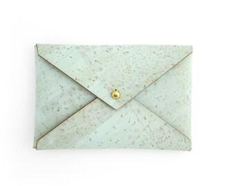 Business card case in Mint Green, business card wallet, Minimalist vegan leather wallet