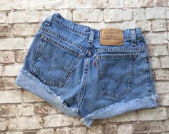 Vintage LEVI'S shorts cut offs orange tab 910 size 9 wedgie