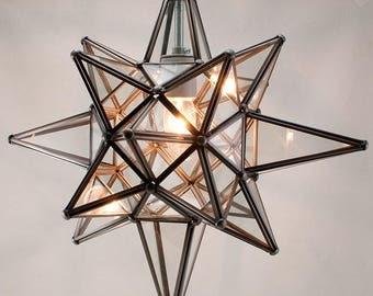 Star of Bethlehem, Moravian Star Pendant, Clear Glass, Bronze Frame, 15x18