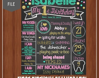 Girl's First Birthday Chalkboard - Digital - Pink, Gold, Turquoise - First Birthday Sign - Girls First Birthday Poster - 1st Birthday - One