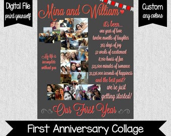 One Year Anniversary - Our First Year - First Year Together - Anniversary Gift - Love - Anniversary - 1 Year Anniversary - DIGITAL