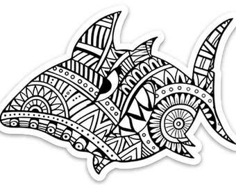 Great White Zen Shark Sticker