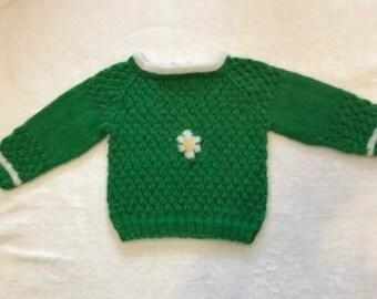 Handknit Daisy Baby pullover