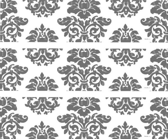 Grey Damask - Birthday - Designer Strips - Edible Cake Side Toppers- Decorate The Sides of Your Cake! - D22734