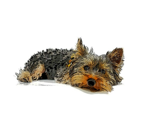Artistic Yorkie Puppy Dog Happy Birthday - Edible Cake and Cupcake Topper For Birthdays and Parties! - D22880