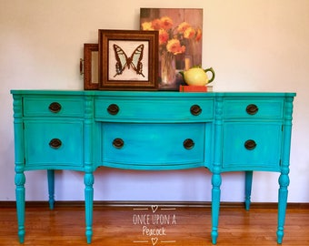 Meet Delilah ~ A Beautiful Buffet / Sideboard / Teal / Turquoise / Green / Ocean/ Beach / Real Wood / Refinished /