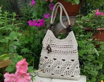 READY TO SHIP! Ecru  handmade crochet handbag .Summer cotton boho crochet purse. Crochet bag. Knit bag. Ivory bag. Bag with wooden beads