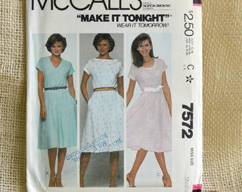 Uncut McCall's 7572 Misses' Dress Pattern // Size 14-16// For Stretch Knits Only, pull over Dress