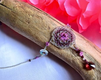 Mandala Necklace with Genuine Garnet & Swavorski Crystal Beads