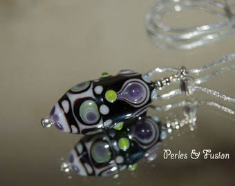 Handmade Lampwork Glass pendant * and * black/white/green - original - unique - Lampwork Glass