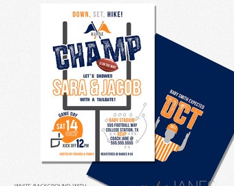 Football Baby Shower Invitation | Digital Printable Football Invitation | Game Day Football Invitation - 5X7 with *bonus reverse side""