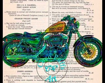 2013 Orange Sportster Forty-eight HD Motorcycle Art - Vintage Dictionary Book Page Art Upcycled Page Art Kitsch Art