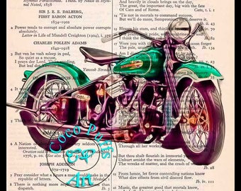 1936 Emerald Green Knucklehead HD Motorcycle Art Beautifully Upcycled Vintage Dictionary Page Book Art Print, Drawing
