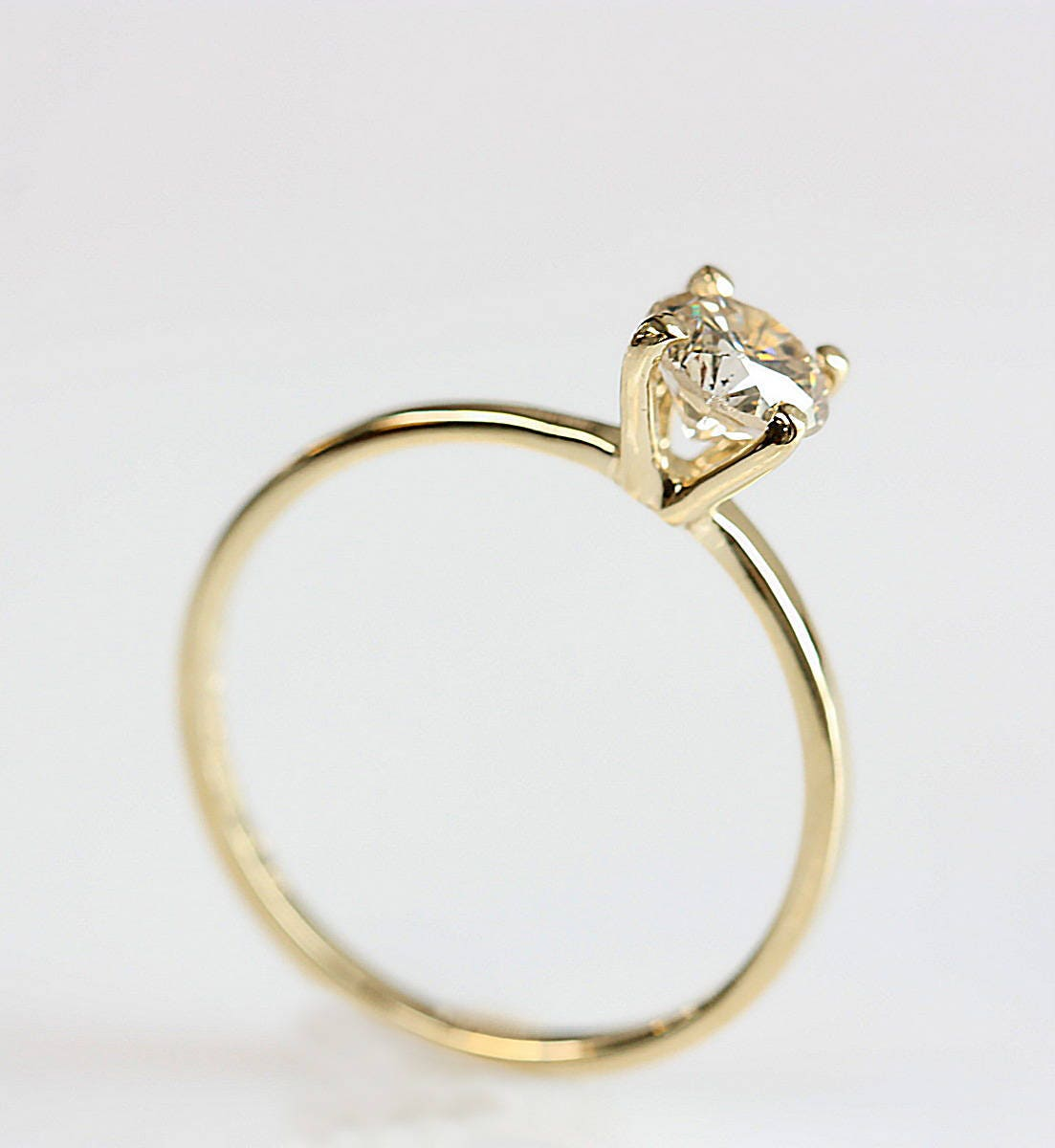solitaire ring engagement ring 14 k yellow gold