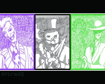 Joker, Riddler, and Penguin trio of Prints at discount price