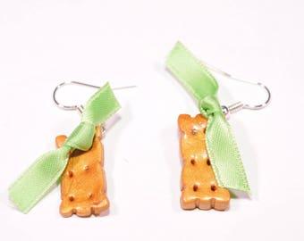 Apple cookie earrings