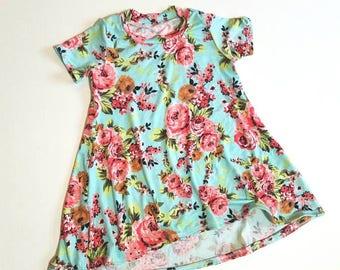Toddler t-shirt dress, baby t-shirt dress, toddler swing dress, baby swing dress, floral swing dress, spring floral dress, mint blue dress