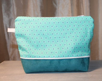 Very nice Japanese cotton and turquoise suede pouch