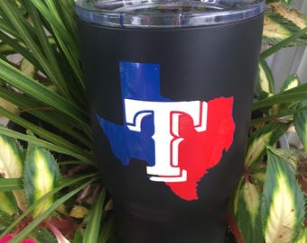 Texas Powder Coated Tumbler/Powder Coated Cup/Texas/Powder Coated YETI/Powder Coated RTIC/Texas Tumbler/Baseball/Baseball Tumbler/Baseball