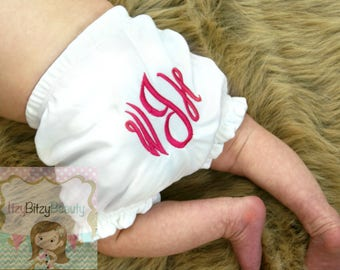 Monogrammed Diaper Cover - Baby Girls Bloomer - Monogrammed Bloomer - Newborn First Birthday