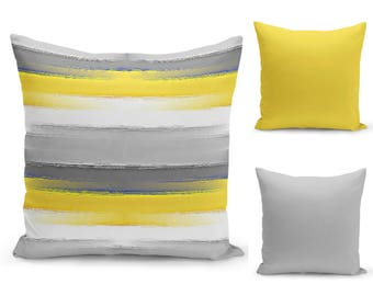 yellow grey pillow throw pillow covers decorative pillow covers home decor abstract