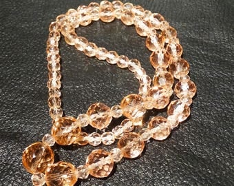 Necklace Earring Set, Vintage Peach Crystal
