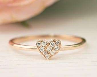 Diamond pave heart ring, 14k rose gold diamond cluster ring, valentine's day, mother's day, bridal ring, love ring, solid gold, hea-r103-dia